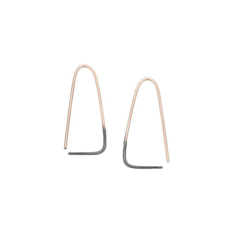 Black & Gold Triangle Pull-Through Earrings