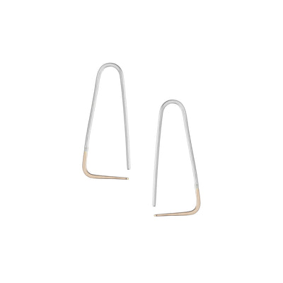 E303s.yg Small Two-Toned Mixed Metal Triangle Pull-Through Earrings in Sterling Silver and Yellow Gold