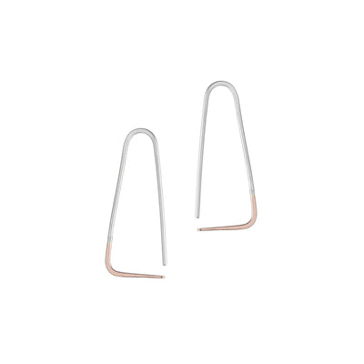 E303s.rg Small Two-Toned Mixed Metal Triangle Pull-Through Earrings in Sterling Silver and Rose Gold