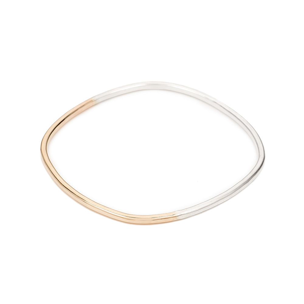 B99s.yg Thick Silver & Yellow Gold Square Bangle Bracelet in Sterling Silver and Yellow Gold