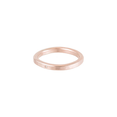 TGRS.rg-k-1.0 2.5mm Wide Gold Round Ring with Diamond in Rose Gold