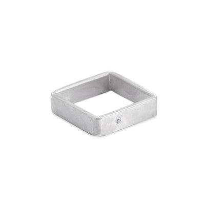 SSQ5-1.5 5mm Matte Silver Hammered Square Ring with 1.5mm Diamond