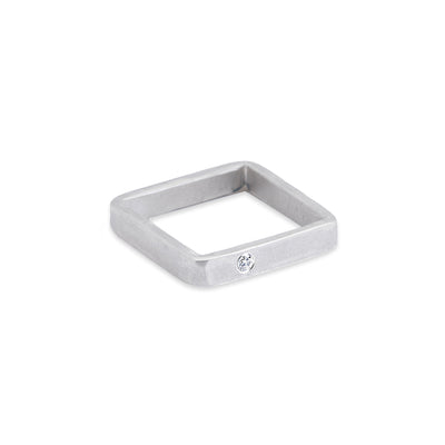 SSQ3-2.0 3mm Wide Matte Silver Square Ring with 2.0mm Diamond
