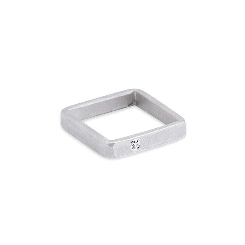 SSQ3-1.5 3mm Wide Matte Silver Square Ring with 1.5mm Diamond