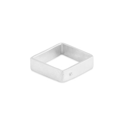 GSQ5.wg-2.0 5mm Matte White Gold Hammered Square Ring with 2.0mm Diamond