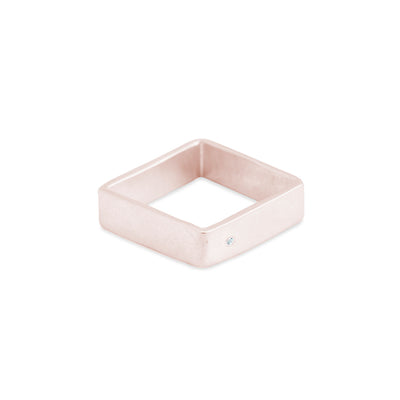 GSQ5.rg-1.5 5mm Matte Rose Gold Hammered Square Ring with 1.5mm Diamond