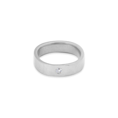 GRS5.wg-2.0 5mm Matte White Gold Hammered Round Ring with 2.0mm Diamond