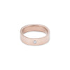 GRS5.rg-2.0 5mm Matte Rose Gold Hammered Round Ring with 2.0mm Diamond