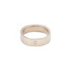 GRS5.yg-2.0 5mm Matte Yellow Gold Hammered Round Ring with 2.0mm Diamond