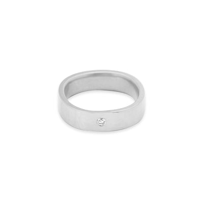 GRS5.wg-1.5 5mm Matte White Gold Hammered Round Ring with 1.5mm Diamond