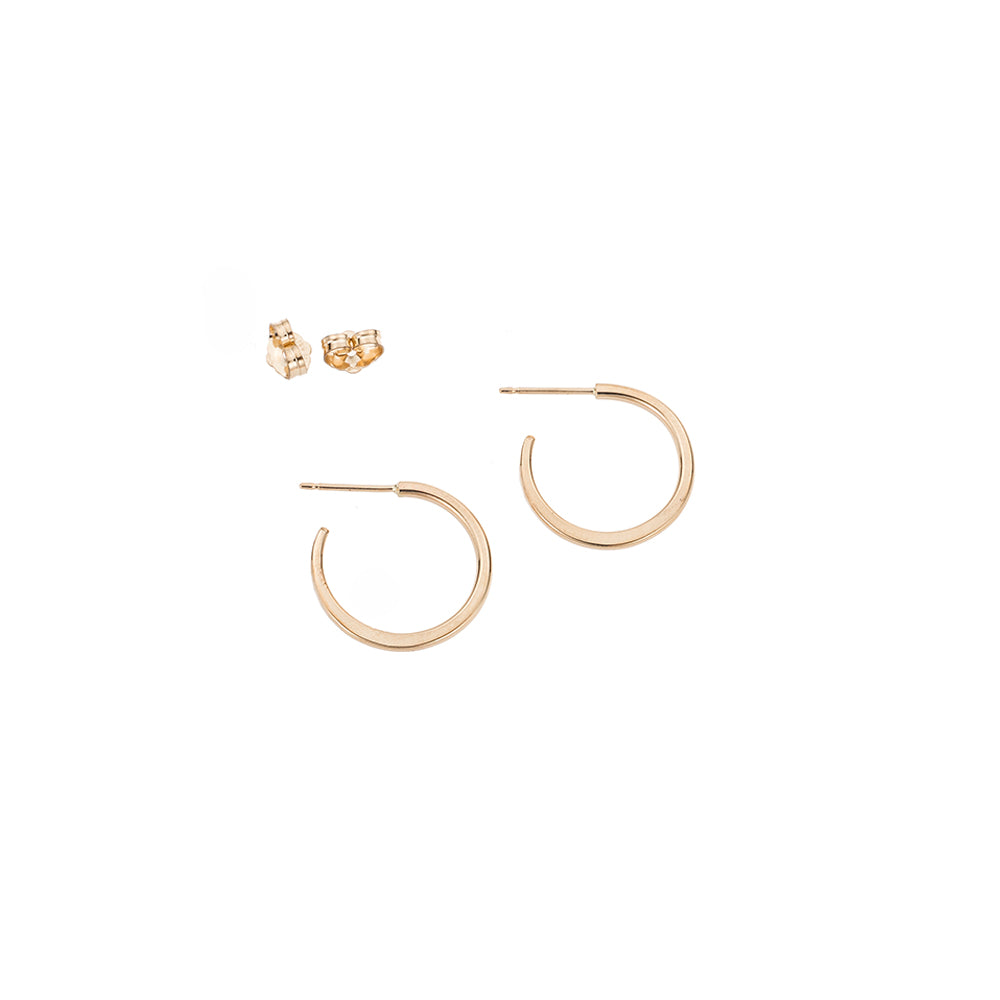 E308yg Small Classic Circle Hoop Earrings in Yellow Gold