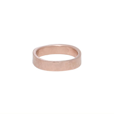 GRS4.rg 4mm Matte Rose Gold Hammered Round Ring