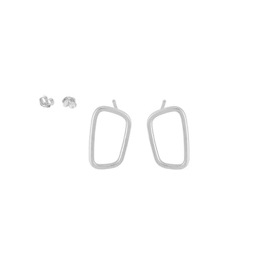 E345s Rectangle Stud Earrings in Sterling Silver