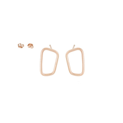 E345rg Rectangle Stud Earrings in Rose Gold