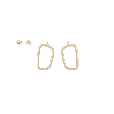 E345yg Rectangle Stud Earrings in Yellow Gold