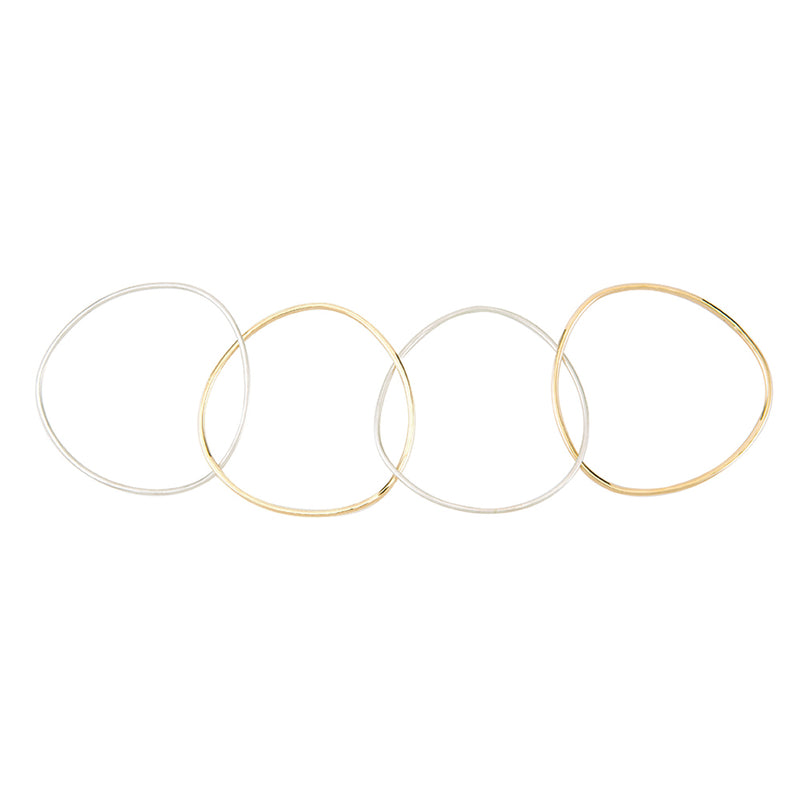 B102.4s.yg 4-Loop Two-Color Interlocking Bangle Bracelet in Sterling Silver and Yellow Gold