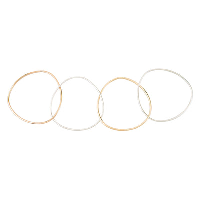 B102.4s.rg.yg 4-Loop Three-Color Interlocking Bangle Bracelet in Sterling Silver, Rose and Yellow Gold