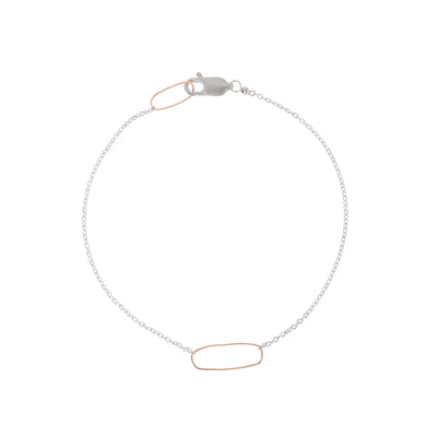 B103s.rg Rectangle & Delicate Chain Bracelet in Sterling Silver and Rose Gold