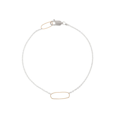 B103s.yg Rectangle & Delicate Chain Bracelet in Sterling Silver and Yellow Gold
