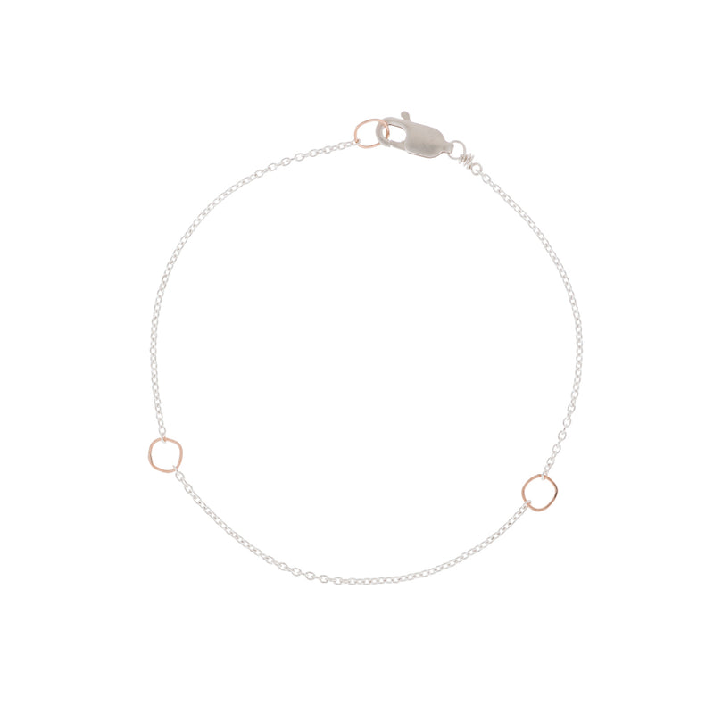 B104g.rg Square & Delicate Chain Bracelet in Rose Gold and Sterling Silver