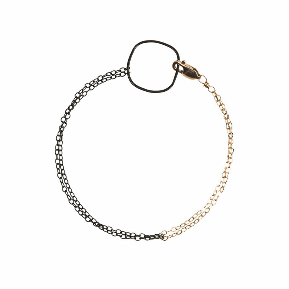 B81g.yg Two-Toned Line Bracelet in Oxidized Silver and Yellow Gold