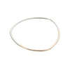 B88s.yg Thick Two-Toned Individual Bangle Bracelet in Sterling Silver and Yellow Gold