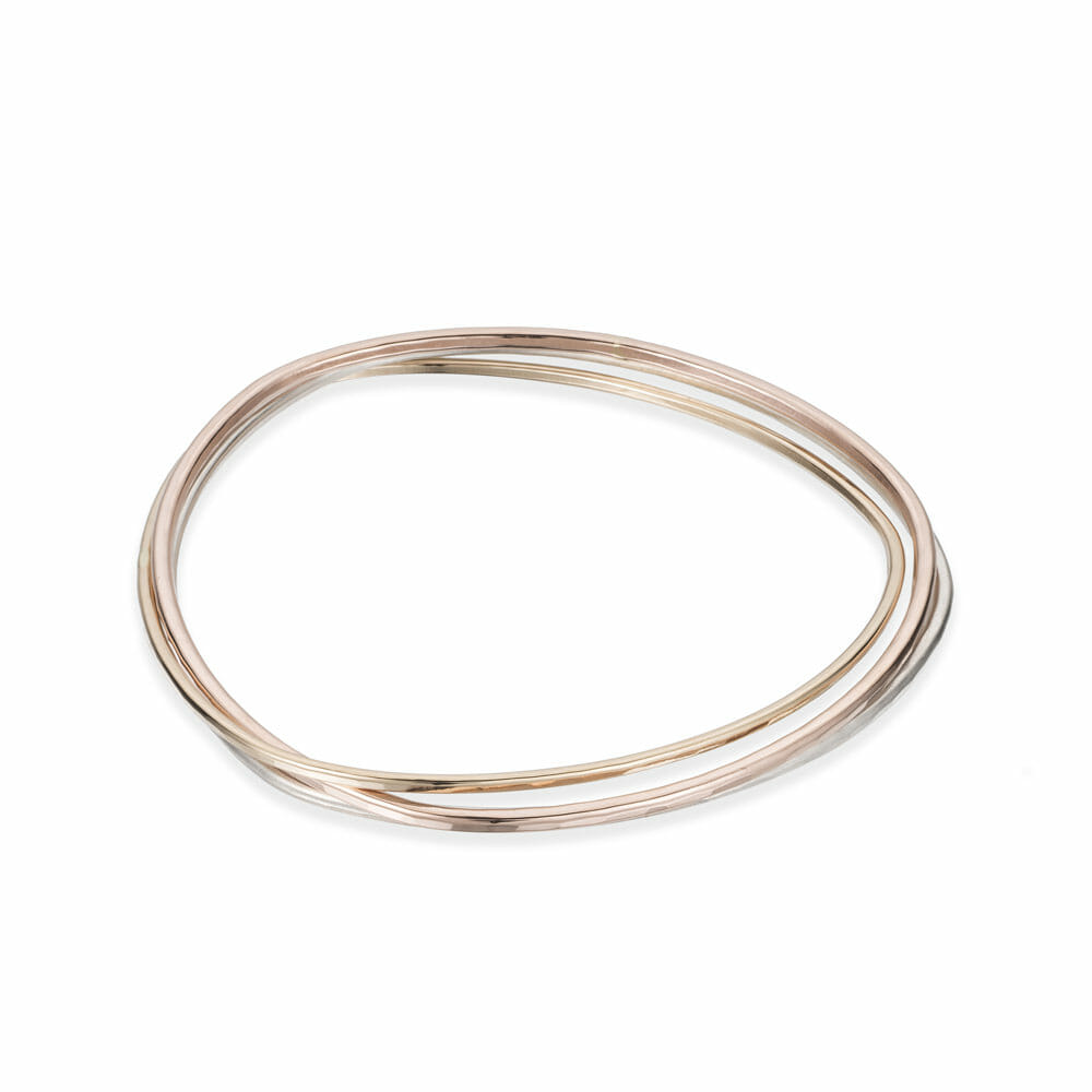 B96.3 3-loop Rose, Silver and Gold Interlocking Bangle Bracelet