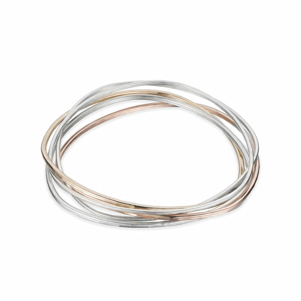B96.5 5-loop Rose, Silver and Gold Interlocking Bangle Bracelet