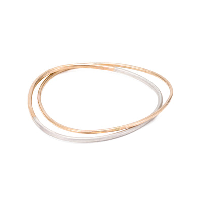 B101.2g.yg 2-Loop Two-Toned and Monotone Interlocking Bangle in Silver and Yellow Gold