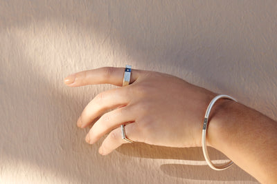 1mm Wide Square Upper Side (Above The Knuckle) Stacking Ring
