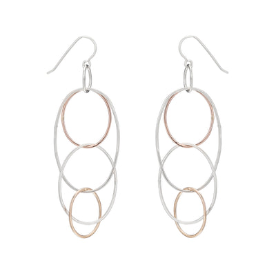 e159s.rg.yg Long Organic Multi-Hoop Earrings in Sterling Silver, Rose Gold and Yellow Gold