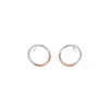 E305s.rg Silver and Rose Gold Circle Post Earrings