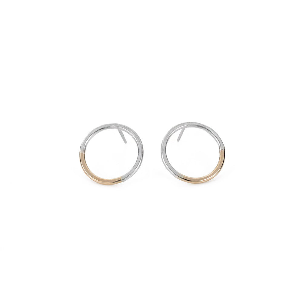 E305s.yg Silver and Yellow Gold Circle Post Earrings