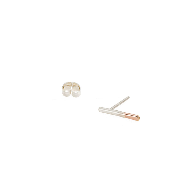 E313s.yg-Single Two-Toned Stria Stud Earring Single in Sterling Silver and Yellow Gold