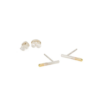 E313s.yg Silver & Gold Stria Stud Earrings in Yellow Gold
