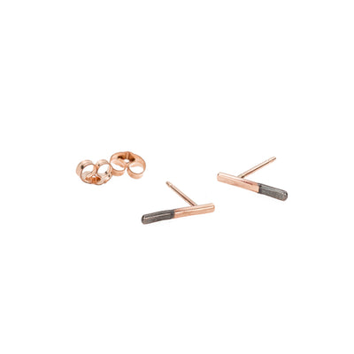 E313x.rg Black & Gold Stria Stud Earrings in Black Oxidized Sterling Silver and Rose Gold