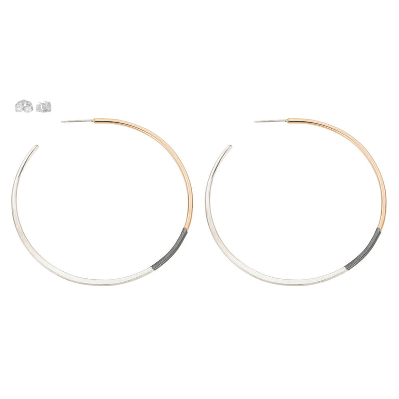 E322t.rg Large Tri-Toned Mixed Metal Classic Hoop Earrings in Rose Gold, Sterling Silver and Black Oxidized Silver