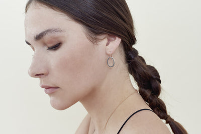 E323t.rg Mini Tri-Toned Mixed Metal Oblong Earrings in Rose Gold, Sterling and Black Oxidized Silver