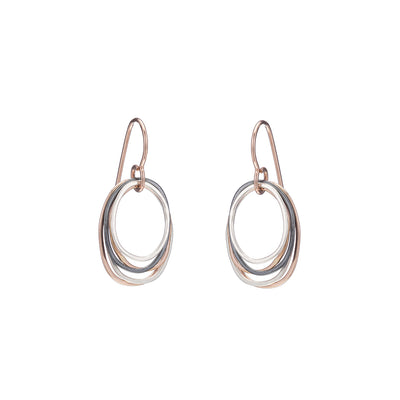 E323g.t.rg Mini Tri-Toned Oblong Earrings in Rose Gold, Sterling and Oxidized Silver