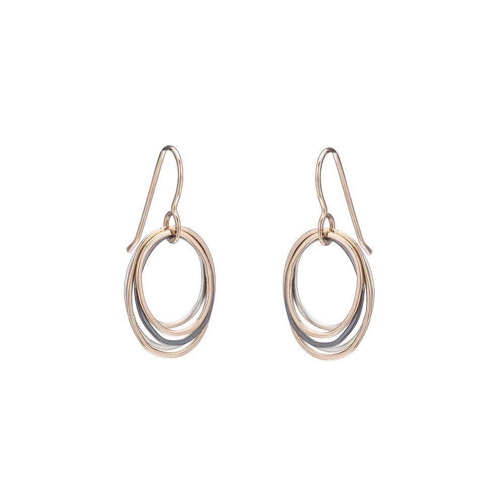 E323g.t.yg Mini Tri-Toned Oblong Earrings in Yellow Gold, Sterling and Oxidized Silver