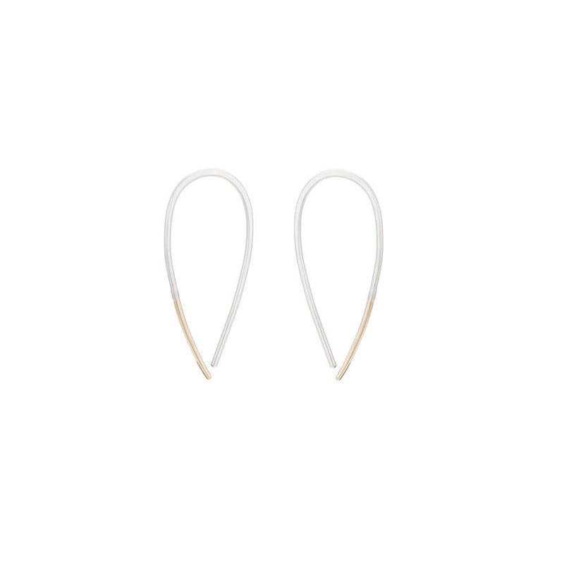 E324s.rg Small Two-Toned Mixed Metal Teardrop Pull-Through Earrings in Sterling Silver and Rose Gold