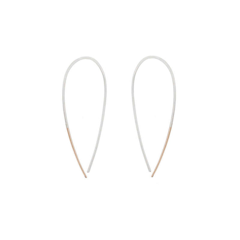 E325s.rg Large Two-Toned Mixed Metal Teardrop Pull-Through Earrings in Sterling Silver and Rose Gold