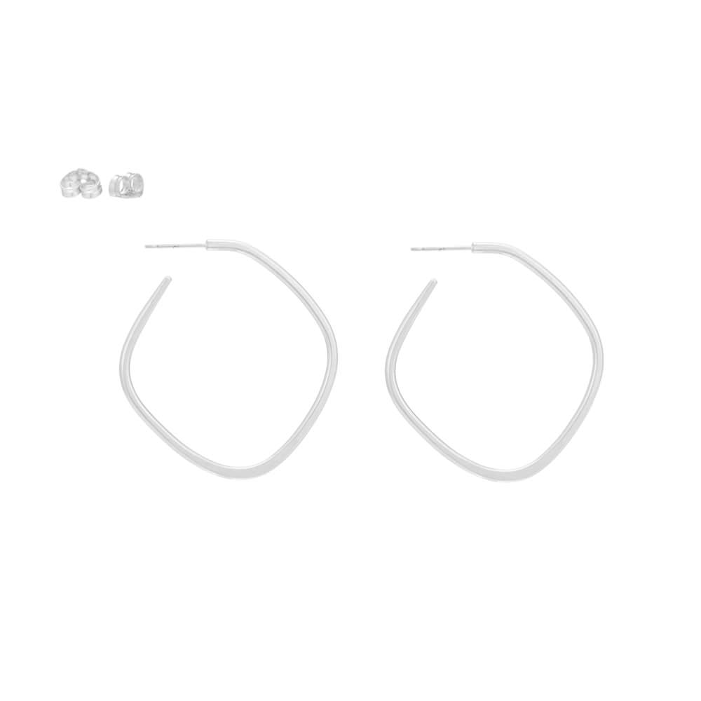 E326s Square Hoop Earrings in Sterling Silver