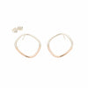 E333s.rg Large Two-Toned Rounded Square Post Earrings in Sterling Silver andRose Gold