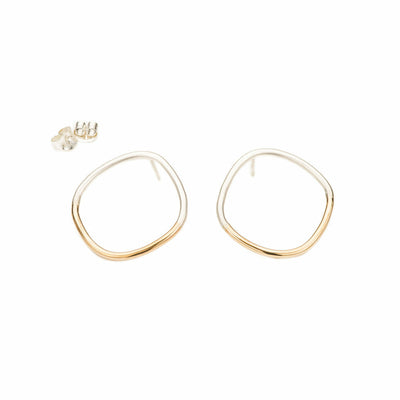 E333s.yg Large Two-Toned Rounded Square Post Earrings in Sterling Silver and Yellow Gold