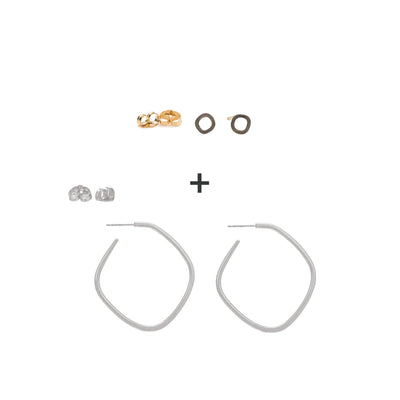 Mini Square Stud Earrings + Square Hoop Earrings
