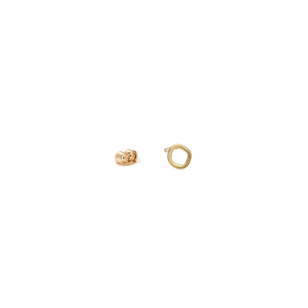 E334yg-Single Mini Square Stud Earring Single in Yellow Gold