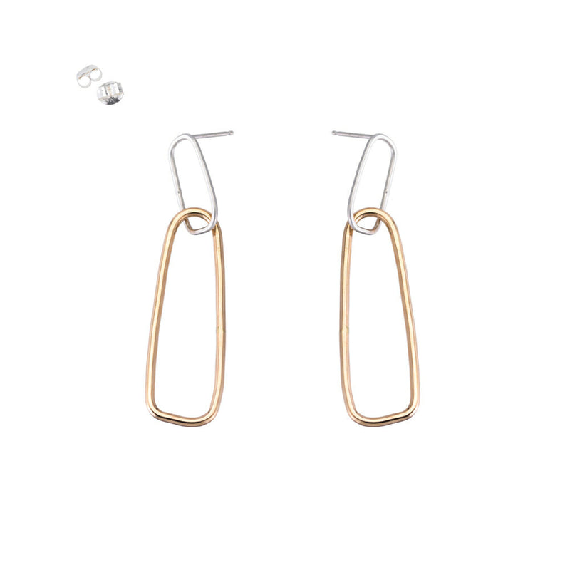 E336s.yg Interlocking Rectangle Post Earrings in Yellow Gold and Silver