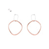 E337s.rg Interlocking Rectangle and Square Post Earrings in Rose Gold and Silver