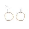 E337s.yg Interlocking Rectangle and Square Post Earrings in Yellow Gold and Silver